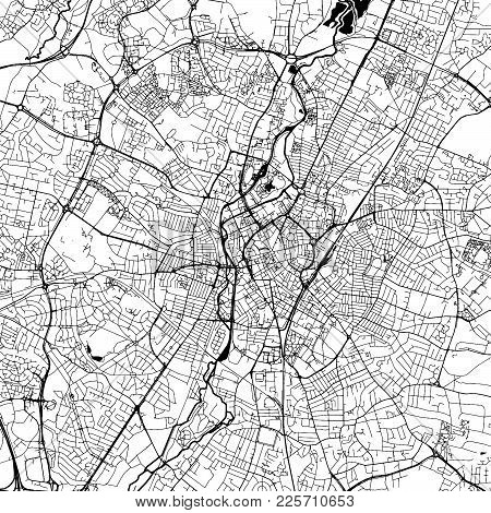 Leicester Downtown Vector Map Monochrome Artprint, Outline Version For Infographic Background, Black
