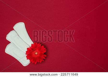 Top View Of Arranged Menstrual Pads And Flower Isolated On Red