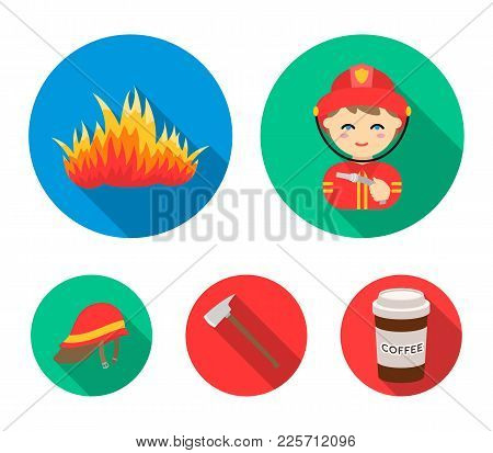 Ax, Helmet, Fireman, Flame. Fire Department Set Collection Icons In Flat Style Vector Symbol Stock I