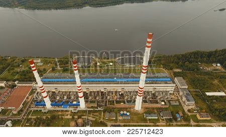 Aerial View Hydroelectric Power Station, Transformation Station, Cables And Wires. High Voltage Elec