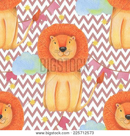 Watercolor Pattern Animal Cute Lion Circus On A White Background, Star, Garland, Clouds. Hand Draw I