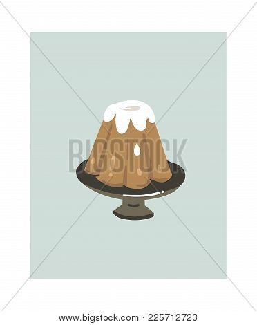 Hand Drawn Vector Abstract Cartoon Cooking Time Fun Illustrations Icon With Pudding Cake On Cake Sta