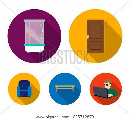 Door, Shower, Coffee Table, Armchair.furniture Set Collection Icons In Flat Style Vector Symbol Stoc