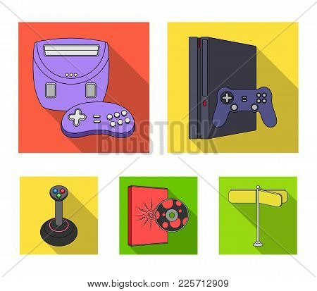 Game Console, Joystick And Disc Flat Icons In Set Collection For Design.game Gadgets Vector Symbol S