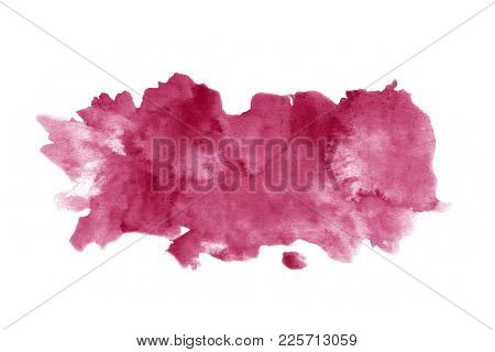 Red Wine Watercolor Stain Isolated On White Background. Realistic Watercolour Wine Texture,  Grunge