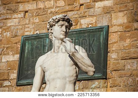Close-up Of The Statue Of David In Front Of The Palazzo Vecchio At Sunset. In The City Of Florence,