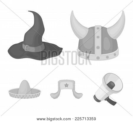 Sombrero, Hat With Ear-flaps, Helmet Of The Viking.hats Set Collection Icons In Monochrome Style Vec