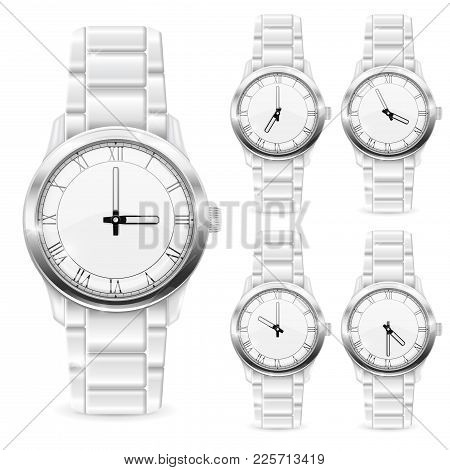 Men Wrist Watch With Metal Bracelet. White Clockface With Roman Numerals. Vector 3d Illustration Iso