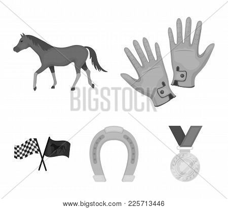 Race, Track, Horse, Animal .hippodrome And Horse Set Collection Icons In Monochrome Style Vector Sym