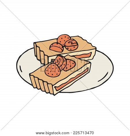 Hand Drawn Illustration Of Strawberry And Almond Tarts On White Background. Vintage Style.
