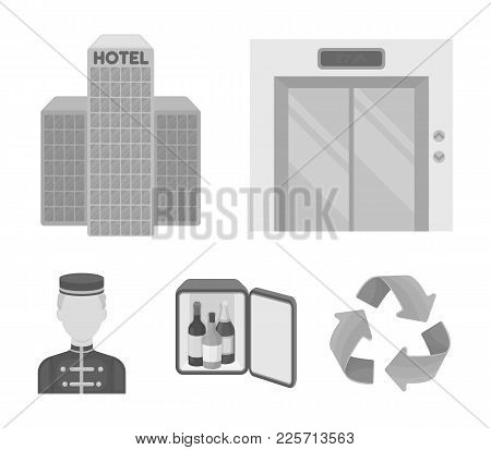 Elevator Car, Mini Bar, Staff, Building.hotel Set Collection Icons In Monochrome Style Vector Symbol