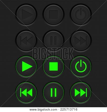 Media Buttons - Inactive Black Buttons And Active Green Buttons. Vector 3d Illustration