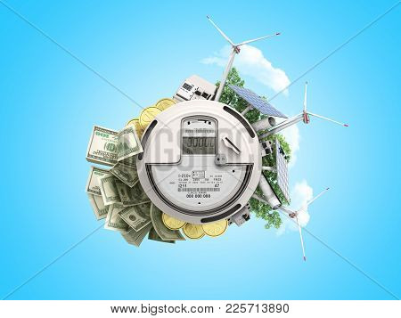 Concept Of Energy Saving The Meter Of Electricity With Solar Panels And A Windmill  Money Dollar Bil