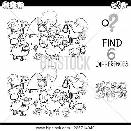 Differences Game With Farm Animals Coloring Book