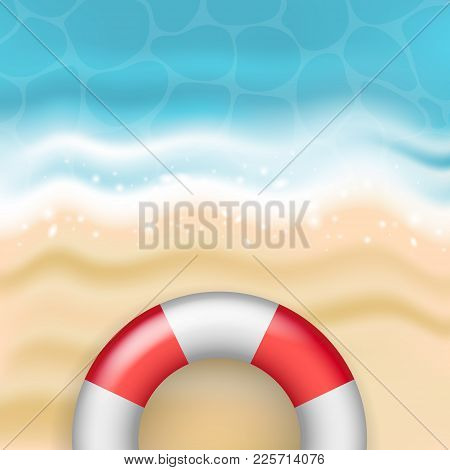 Bright Vector Summer Sandy Beach With Sea Waves And Red And White Life Buoy - Vacation, Swimming, Tr