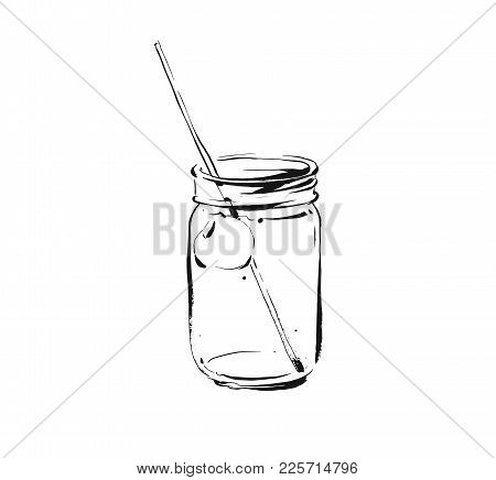 Hand Drawn Vector Abstract Artistic Cooking Ink Sketch Illustration Of Tropical Fruit Lemonade Cockt