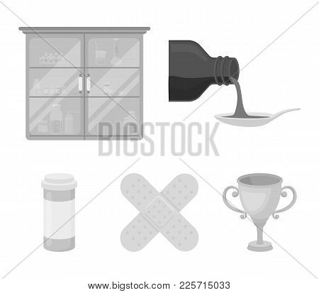 Syrup In A Spoon, Plaster, Honey, Medical Cabinet.medicine Set Collection Icons In Monochrome Style