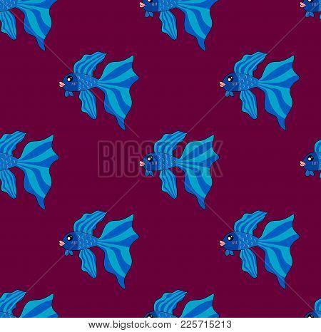 Siamese Fighting Fish On Purple Background. Vector Illustration.