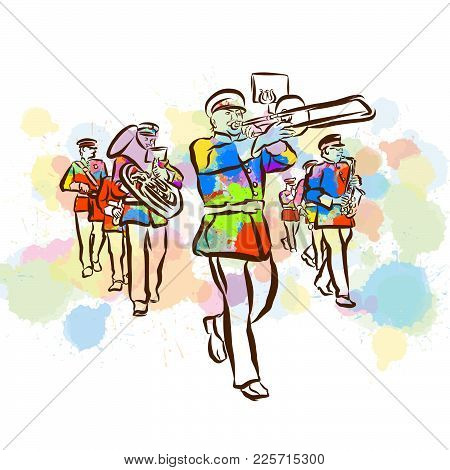 Colorful Marching Band Sketch. Hand Drawn Vector Illustration, Splatter Color Isolated On White Back