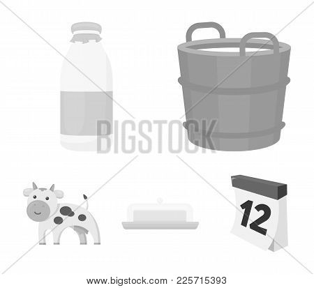 A Barrel Of Milk, Butter, A Cow. Milk Set Collection Icons In Monochrome Style Vector Symbol Stock I