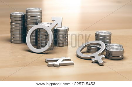 3d Illustration Of Male And Female Symbols With 2 Piles Of Coins A Small One For Women And A Larger