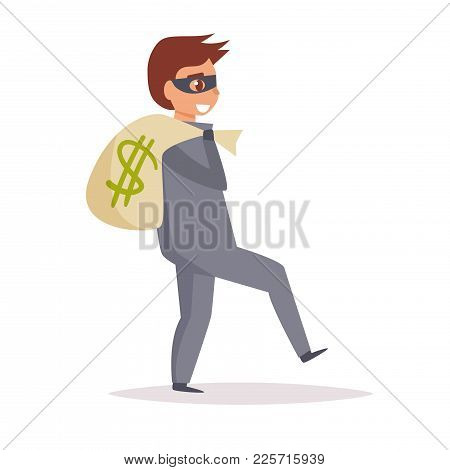 Robber. Vector. Cartoon. Isolated Art On White Background Flat