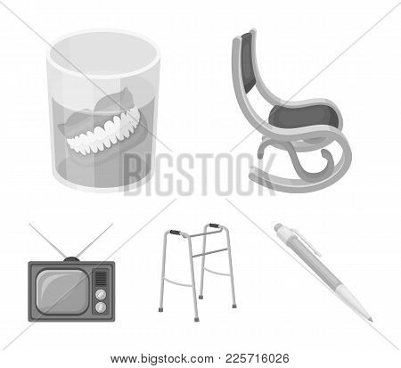 Denture, Rocking Chair, Walker, Old Tv.old Age Set Collection Icons In Monochrome Style Vector Symbo