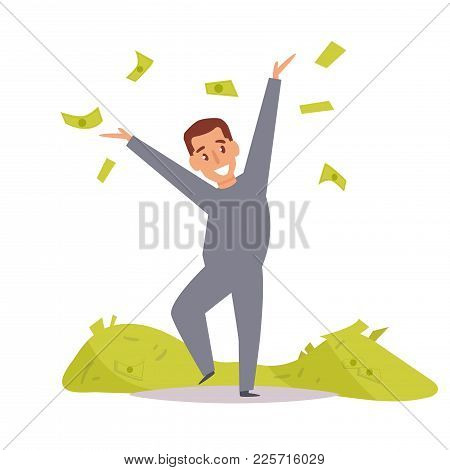 Criminal With Piles Of Money. Robber. Vector. Cartoon. Isolated Art On White Background. Flat