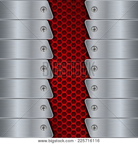 Metal Background With Rivets And Red Perforation. Vector 3d Illustration