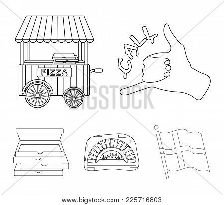Order Pizza Gesture, Box For Pizza, Oven, Trailer. Pizza And Pizzeria Set Collection Icons In Outlin