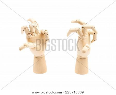 Broken Wooden Hinge Joint Model Of Hand As A Drawing Reference, Composition Isolated Over The White