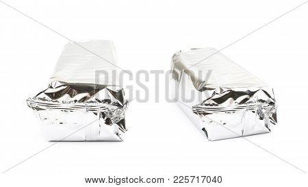 Product Packed In A Silver Foil Package Isolated Over The White Background , Set Of Several Differen