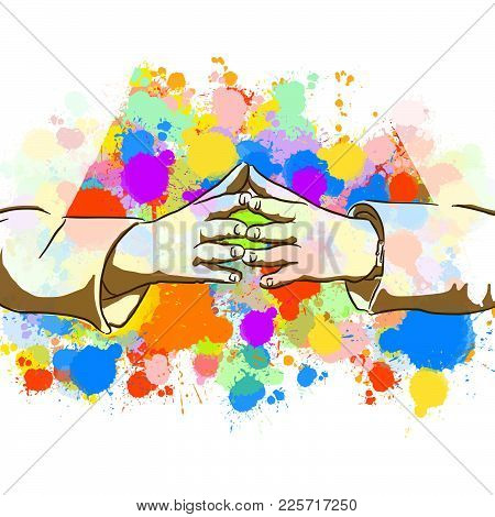 Businesswoman Colorful Hands Sign. Hand Drawn Vector Illustration, Splatter Color Isolated On White
