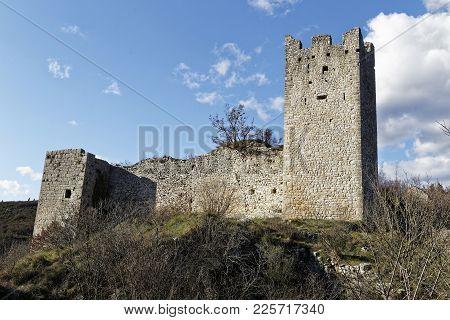 Ruins Of Old Castle In Dvigrad, Croatia