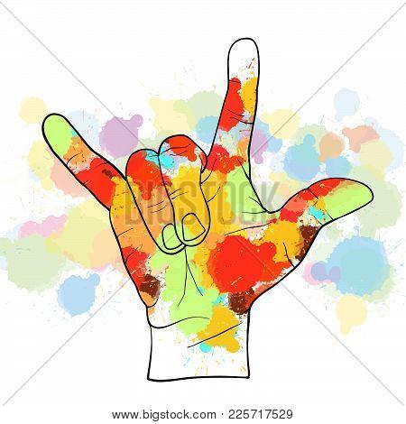 Colorful Devil Horn Hand. Hand Drawn Vector Illustration, Splatter Color Isolated On White Backgroun