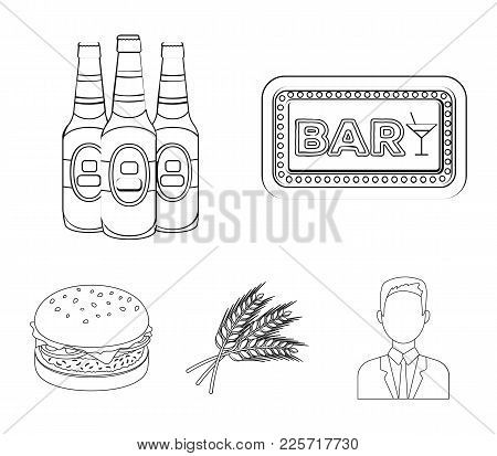 Bar, Pub, Restaurant, Cafe .pub Set Collection Icons In Outline Style Vector Symbol Stock Illustrati