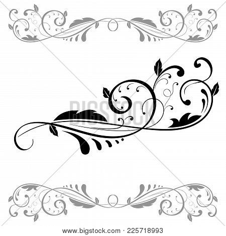 Floral Ornament. Set Of Black Dividers. Vector Illustration Isolated On White Background