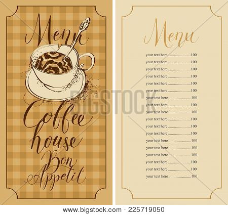 Vector Menu For Coffee House With Handwritten Inscriptions, A Broken Coffee Cup And A Price List In