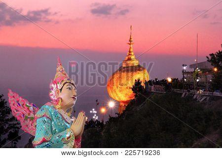 Myanmar Angle Image With Kyaikhtiyo Golden Rock Pagoda And Temple And Beautiful Sunshine View. This