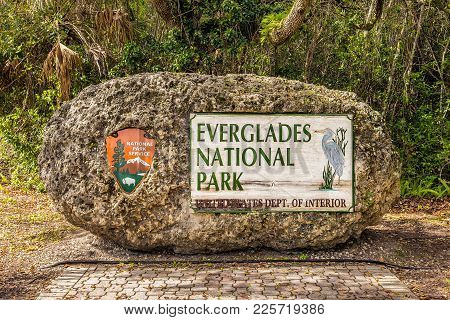 Entrance Sign In The Everglades National Park, Florida