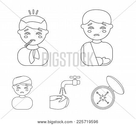 A Man With A Broken Arm In A Cast, A Patient With A Thermometer In His Mouth In A Scarf, Hands Under