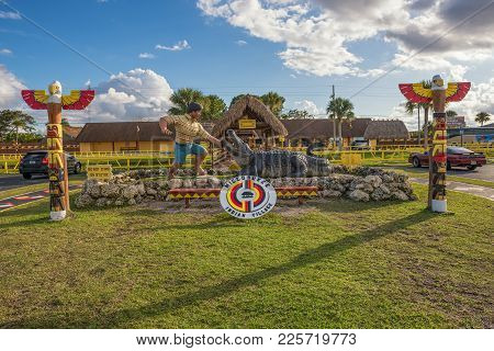 Miami, Florida - January 13, 2015 : Entry To The Miccosukee Indian Village. The Miccosukee Tribe Is