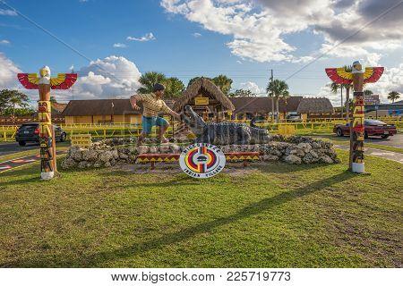 Miami, Florida - January 13, 2015 : Entry To The Miccosukee Indian Village. The Miccosukee Tribe Is