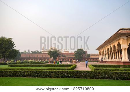 Agra, India - November, 2017: Diwan-i-am - Hall Of Public Audience Is A Room In The Red Fort Of Delh