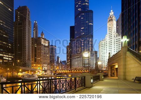 Cityscape Of Buildings Around The Chicago River, Chicago, Illinois, Usa