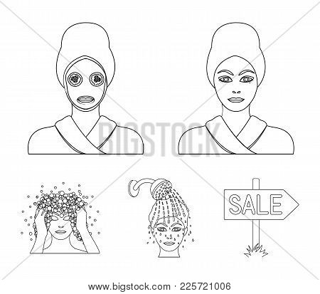 Hands, Hygiene, Cosmetology And Other  Icon In Outline Style.bath, Clothes, Means Icons In Set Colle