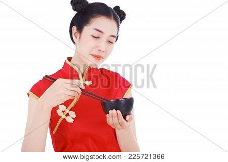 Happy Woman Wearing Chinese Cheongsam Dress With Chopsticks And Bowl Isolated On White Background
