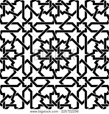 Seamless Arabic Geometric Pattern Simulating The Weave Based On Traditional Arabic Art. Muslim Mosai