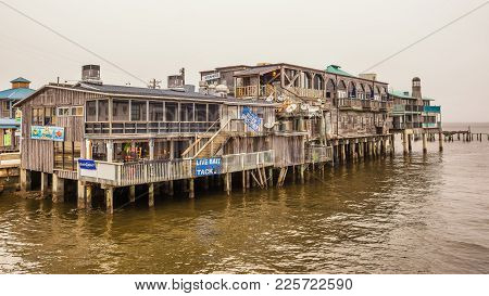 Cedar Key, Florida - January 15, 2015 : Waterfront Buildings On Stilts In The Historic Downtown Ceda