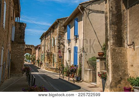 Chateauneuf-du-pape, France, July 02, 2016. Street View With Stone Houses In The City Center Of Chat